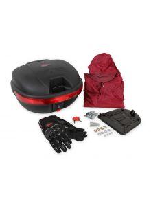 Paquete caja para moto 31 lts (Guantes e impermeable)
